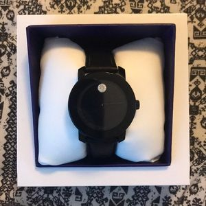 Movado leather band black watch nwt women's 450$